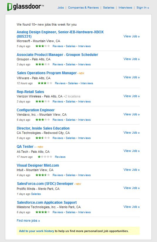Glassdoor job recommendations